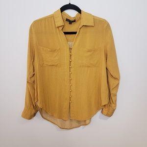 Velvet Heart Yellow Polkadot Button Up Blouse